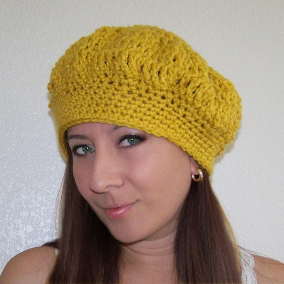 Mustard Gold Dark Yellow Crochet Beret or French Tam