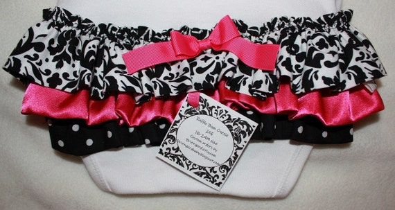 Ruffle Onesie Dress or Ruffle Bum with matching headband and bow... Damask, Black White and Hot Pink
