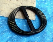 "Vintage Celluloid Buckle - Black distressed w/ detailing - 1.75"" oval"