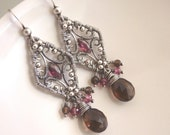 Cora Earrings - pink sapphire, garnet, smokey quartz and oxidised sterling silver