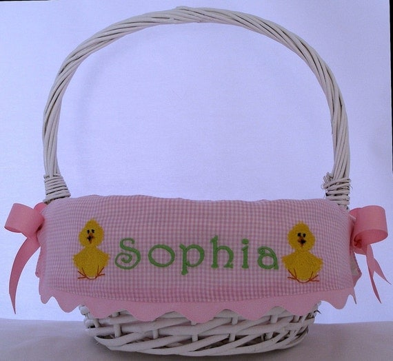Personalized Easter Basket Girl Chick