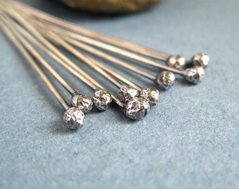 Sterling silver headpins, wire pins, ball headpins, oxidized silver wire pins, handmade silver findings, 2 inches long, 20g, 22g, 24g wire