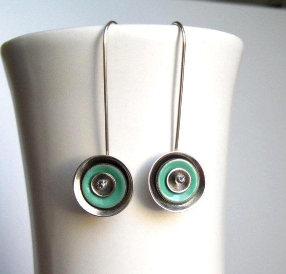 Mint Green Enamel Sterling Silver Disc Earrings