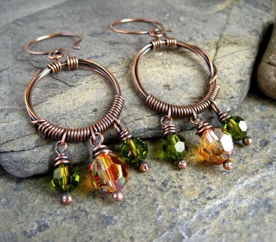 Copper Hoop Earrings, copper wire wrapped earrings, copper beaded, wire jewelry