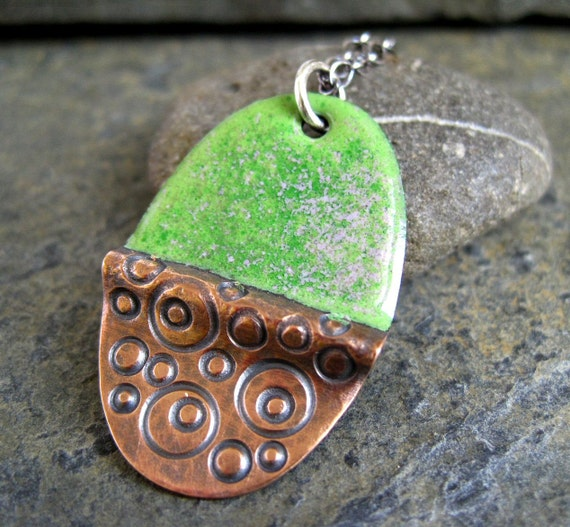 Enamel Pendant pink green enamel on copper hand stamped copper necklace