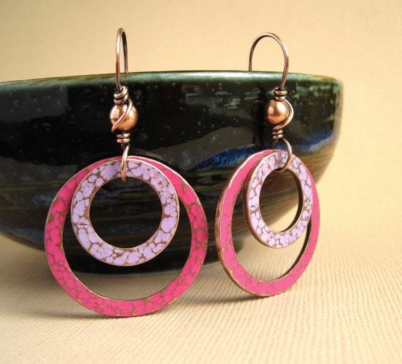 Copper Hoop Earrings hammered copper dangle earrings pink purple patina