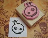 Skull Stamp - Blingin' Skullie - Hand Carved Rubber Stamp by Skull and Cross Buns