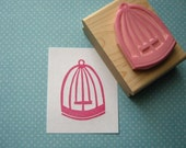 Pretty Birdcage - Hand Carved Rubber Stamp by Skull and Cross Buns