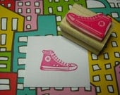 Basketball Boot - Hand carved rubber stamp by Skull and Cross Buns