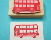 London Bus Stamp - Hand Carved Rubber Stamp - skullandcrossbuns