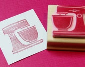 Kitchen Mixer Stamp - Hand Carved Rubber Stamp