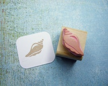 Mini Conch Shell Hand Carved Rubber Stamp - Nautical Stamp - Beach Stamper - Wedding Stamp - Shell Stamp - Beachcombing - Sand - Sea stamp