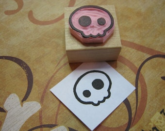 Skull Stamp - Medium Quirky Skull Hand carved rubber stamper - Gift for Boys - Halloween Stamp - Gift for Teens - Alternative - Goth