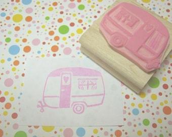 Trailer Stamp - Little Caravan of Love Hand Carved Rubber Stamp - Caravan Gift - Gift for Caravan Lover - Glamping - Camping - Camper