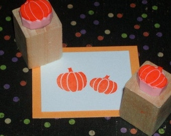 Halloween stamps - Pair of Mini Pumpkins Hand Carved Rubber Stamps - Halloween Gift - Halloween Craft - Thanksgiving Rubber Stamp