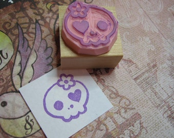 Skull Rubber Stamp - Girlie Skullie Hand Carved Rubber Stamp - Gift for Goth - Girl Gift - Skull Gift - Gift for Music Lover - Punk Rock