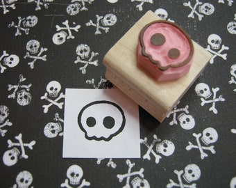 Skull Stamp - Mini Quirky Skull Hand carved rubber stamper - Gift for Boys -  Halloween Stamp - Gift for Teens - Alternative - Goth