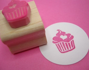 Cupcake Stamp - Iced Cupcake with a Heart - Hand Carved Rubber Stamp - Gift for Baker - Present for Foodie - Baking Supplies - Scrapbooking