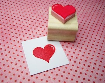 Love Heart - Hand carved rubber stamp by Skull and Cross Buns