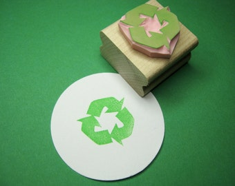 Recycle It Hand Carved Rubber Stamp - Recycyle Stamper - Upcycled - Recycling Symbol - Re-use - Packaging - Eco Stamp - Environment
