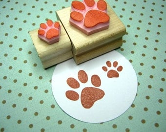 Pair of Paws - Hand Carved Rubber Stamps - Dog Paw Rubber Stamp - Cat Paw Rubber Stamp - Animal Paw - Gift Animal Lover - Pawprint - Bear