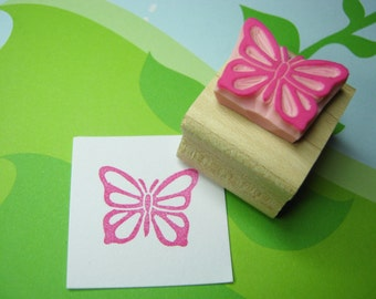 Butterfly Stamp - Fluttering Butterfly Hand Carved Rubber Stamp - Gift for Girl - Girl Party Invite - Nature Lover Present - Wings - Flying