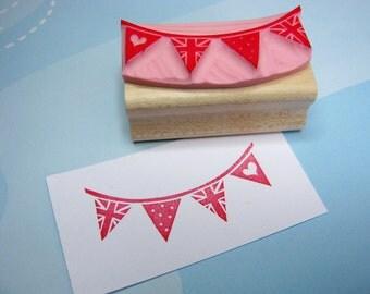 Bunting Stamp - Union Jack Bunting - Hand carved rubber stamp - Wedding Rubber Stamp - UK Flag - Wedding Stationery - Handmade Wedding