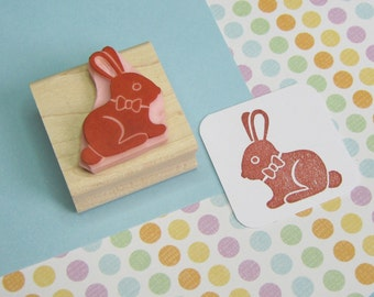 Chocolate Bunny Rabbit Stamp - Hand Carved Rubber Stamp - Easter Bunny Rubber Stamp - Easter Rubber Stamp - Easter Craft