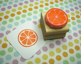 Citrus Slice - Hand Carved Rubber Stamp