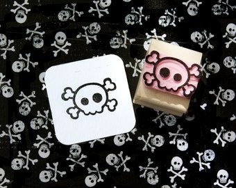Skull stamp - Mini Quirky Skull and Cross Bones Hand Carved Rubber Stamp - Gift for Goth - Girl Gift - Skull Gift - Music Lover - Punk Rock