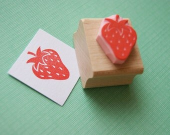 Strawberry Rubber Stamp - Juicy Strawberry Hand Carved Rubber Stamp - Gift for Foodie - Jam Making - Jam Jar Label - Fruit Stamper - Berry