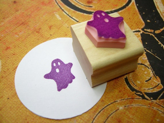 Halloween Ghost Hand Carved Rubber Stamp - Gift for Goth - Girl Gift - Skull Gift - Music Lover - Punk Rock - Ghoul - Spooky - Haunted
