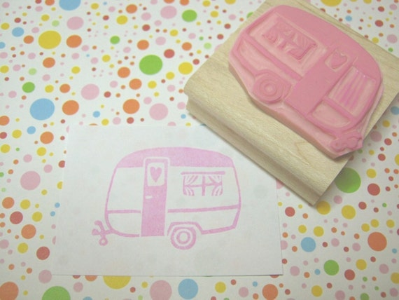 Trailer Stamp - Little Caravan of Love Hand Carved Rubber Stamp - Caravan Gift - Gift for Caravan Lover - Glamping - Camping - Camper