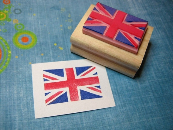 Union Jack Hand carved rubber stamp - Union Flag - British Flag - Made in Britain - Craft Supplies - Scrapbooking - English - Business