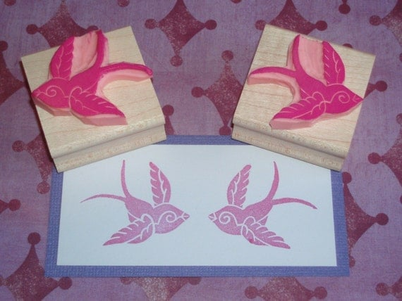 Bird Stamps - Pair of Swallows - Hand Carved Rubber Stamps