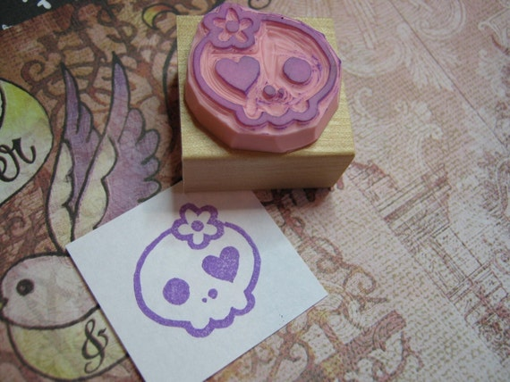 Skull Rubber Stamp - Girlie Skullie Hand Carved Rubber Stamp - Gift for Goth - Girl Gift - Skull Gift - Gift for Music Lover - Punk Rock