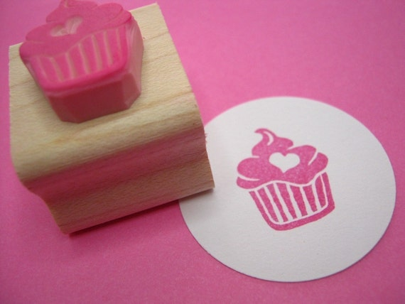 Cupcake Stamp - Iced Cupcake with a Heart - Hand Carved Rubber Stamp