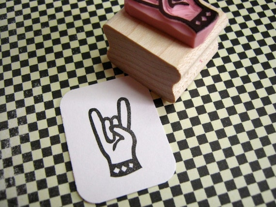 Rock n' Roll Devil Horns Hand Carved Rubber Stamp - Gift for Musician - Present Music Lover - Electric Guitar - Rock Metal Music