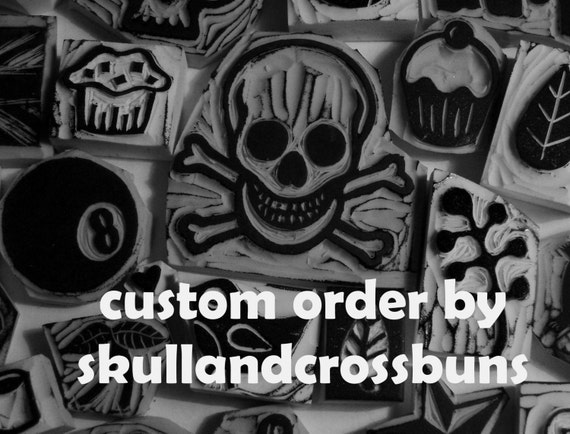 Custom listing for mumswhobake  - hand carved rubber stamp