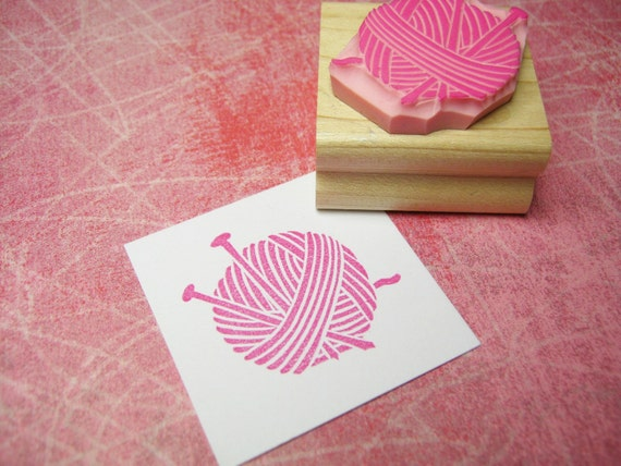 Wool and Needles - Hand Carved Rubber Stamp - Knitting Stamp - Knit Stamper - Gift for Knitter - Knitting Supplies - Knitting Needles