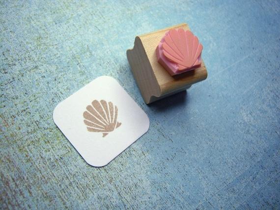 Mini Clam Shell Hand Carved Rubber Stamp - Nautical Wedding - Beach Wedding  - Shell Stamper - Beach Gift - Shell Gift - Mermaid Gift