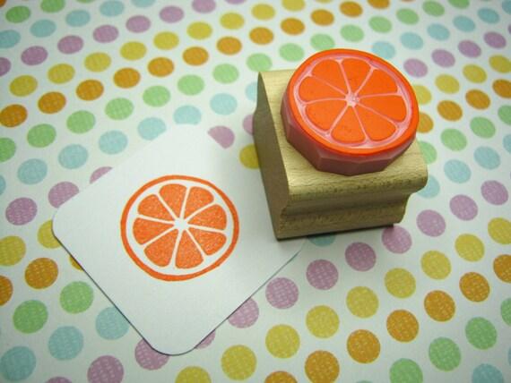 Citrus Slice Stamp - Hand Carved Rubber Stamper - Fruit Stamp - Orange Lemon Lime - Jam Jar Label - Gift for Foodie - Tropical Wedding