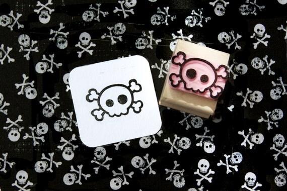 Skull stamp - Mini Quirky Skull and Cross Bones Hand Carved Rubber Stamp - Gift for Goth - Girl Gift - Skull Gift - Music Lover - Punk Rock