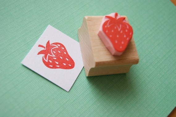 Strawberry Rubber Stamp - Juicy Strawberry Hand carved Rubber Stamp