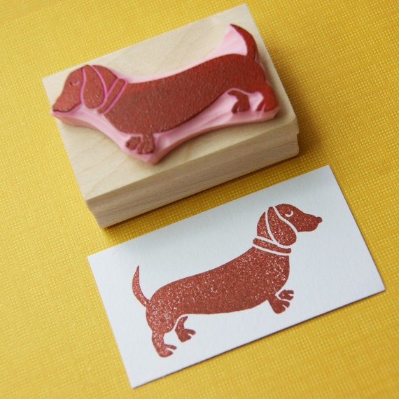 Dachshund Rubber Stamp - Sausage Dog Hand Carved Rubber Stamp - Daschshund Gift - Gift for Dachshund Lover - Dog Gift - Animal Lover