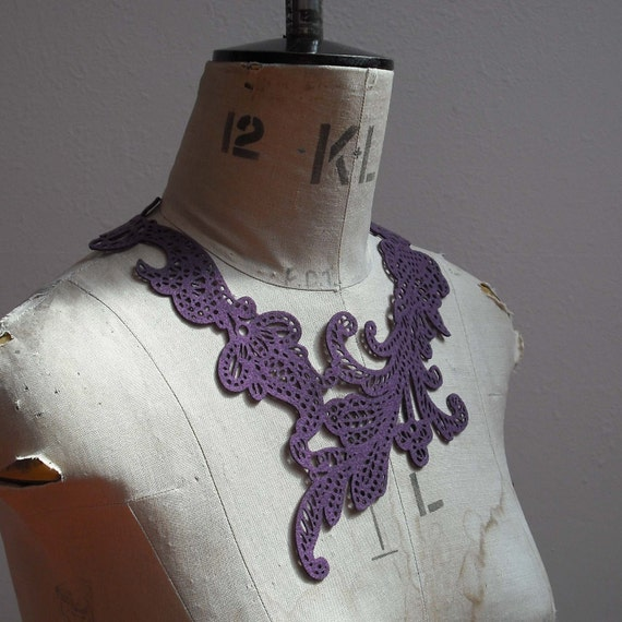 Lace Eco-Necklace - Plum Swirly - Recycled Felt - Delicate Laser Cut