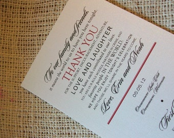 Wedding Menu Card - Thank You Design - Pearl Shimmer - 1.00 each
