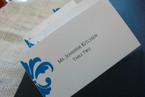 Wedding Place - Escort Cards - Damask or Fleur De LIs Designs SAMPLE .20 each Personalized