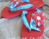 Bride-to-Be Bridesmaid Bridal Party Bachelorette Party Wedding RedFlip Flops - Choose your color and size