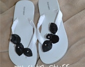 Bride-to-Be Bridesmaid Bridal Party Bachelorette Party Wedding White Flip Flops - Choose your color and size